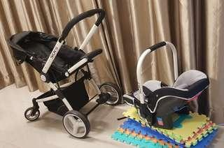 SCR 5 Stroller with SCR 7 baby carrier