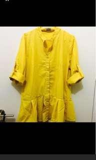 Yellow Blouse shirt dress bukan zara h&m bershka