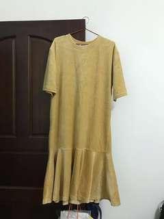絨布魚尾裙短袖洋裝