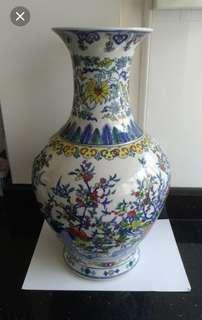 Vase #20...Porcelain...blue flowers...playing children