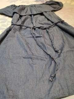 Zalora Dropped Shoulder Denim Dress for Sale!