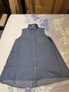 Denim Blue Sleeveless Long Flare Top for Sale!