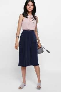 🚚 Love Bonito Cahoria Side Pleated Culottes (Navy Blue)