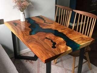 American Walnut Epoxy Resin River Table