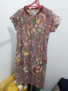(200 DAPET 3) Cheongsam Pink Batik Dress