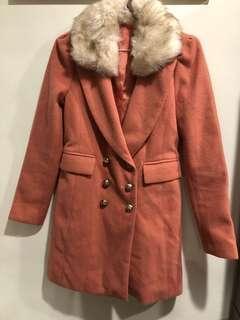 🚚 已送洗-韓標原價2500毛領可拆粉氣質長版外套大衣