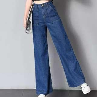 全新 深藍色闊腳牛仔褲