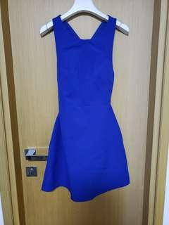Zara藍色露背款背心裙