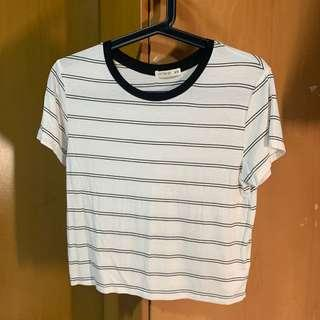 Cotton On Black and White Striped Crop Top