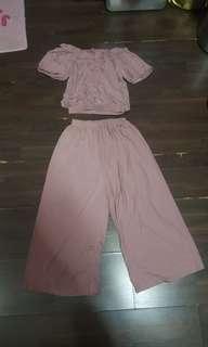Culottes Off Shoulder Top 2 Pc Set