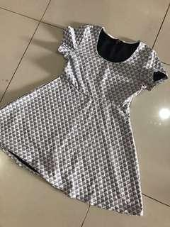 White grid casual dress