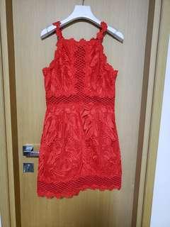 Topshop紅色紗網裙(有6號同8號)