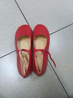 瑪麗珍鞋 圓頭娃娃鞋 紅色