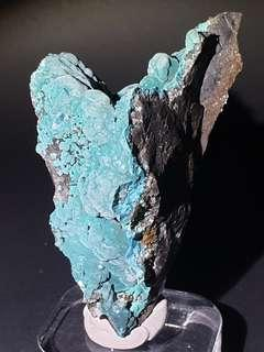 Silky Turquoise Rosasite with Selenite Crystal from Ojuela, Mexico