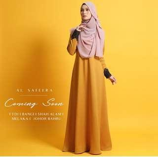 Ej style mustard jubah dress with beaded lace