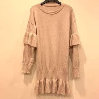 🚚 米色 毛衣洋裝