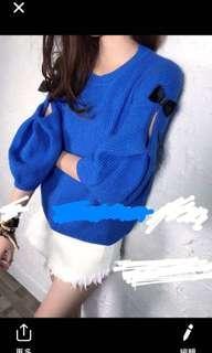 Korean blue top 韓國藍色線衫