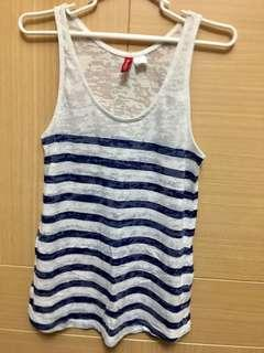 🚚 H&M夏天藍白條紋背心🔥夏天必搭、毫無疑問