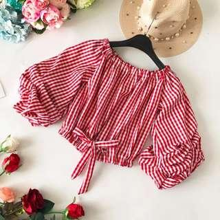 Off Shoulder red checker top