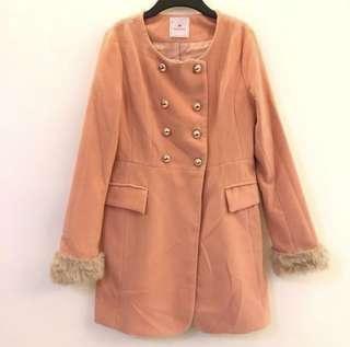 🚚 粉橘 袖口毛毛 長袖 中長版 外套