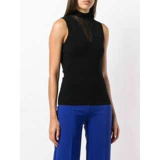 THEORY Black Sheer-Neck Knitted Top