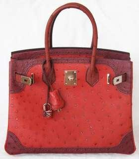 🚚 Hermes B30, PHW, Ostrich Ghillies Tricolor Red, Red Combo (very Rare, year 2014)