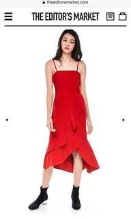 Leonie ruffle midi dress in scarlet