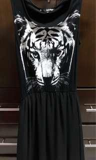 Black printed tiger dress