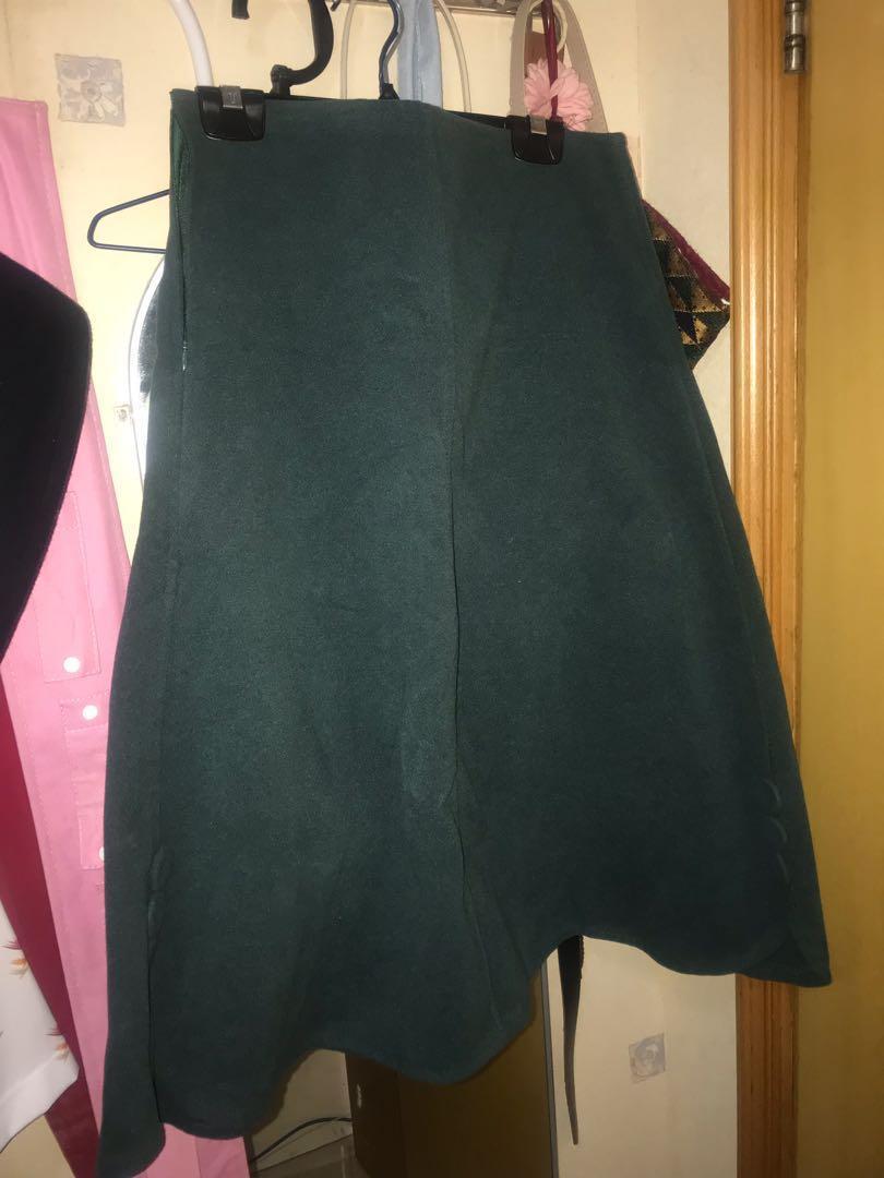冬季 斯文裙 墨綠色