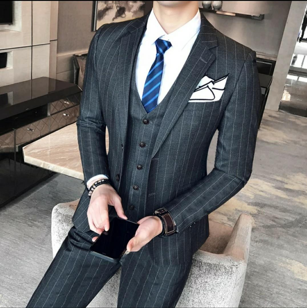 Black Blue Red Grey Men Suit Striped Designs Men S Fashion Clothes Others On Carousell