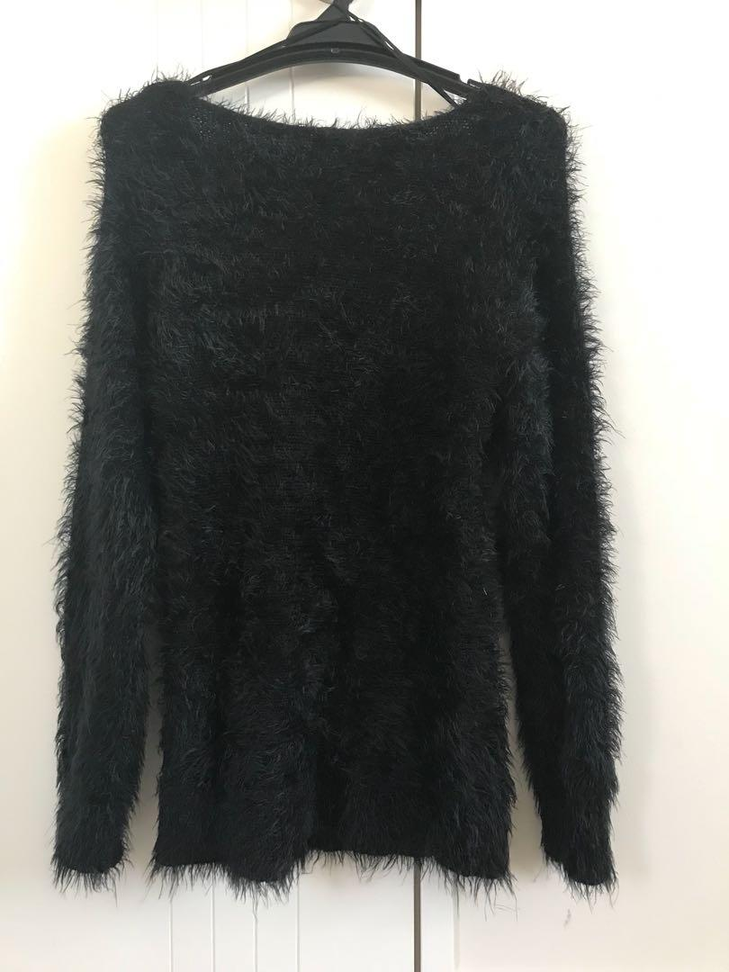 Black fuzzy sweater