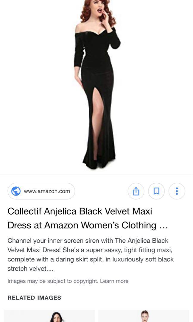Black velvet off the shoulder vintage style maxi dress