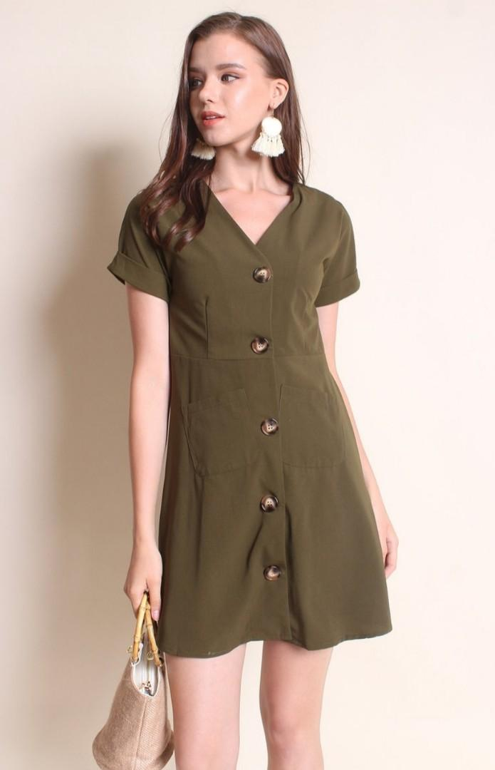 (BNWT) Neonmello Jaye Buttons Up Sleeve Utility Dress in Olive Green
