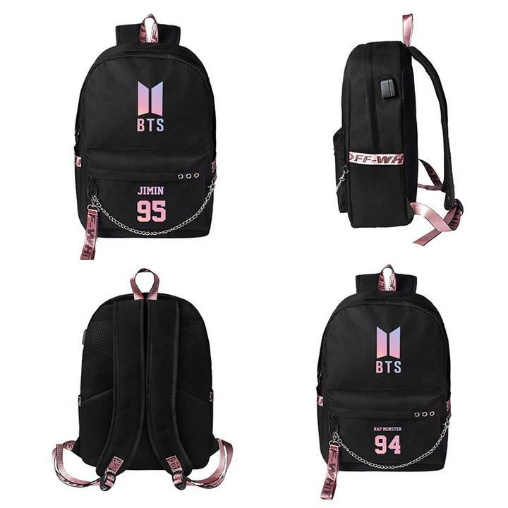 BTS New Logo with Member Name Korean Style Backpack   School Bag ...