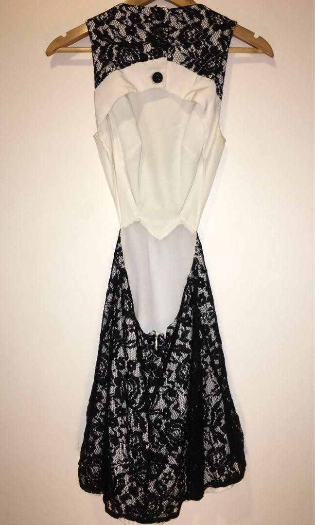 Cooper St Cocktail Dress Black & White Floral Lace Netting Backless Sideless