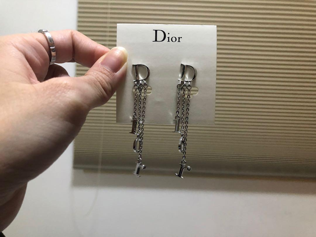 Dior new authentic logo dangling clip earrings 吊夾耳環