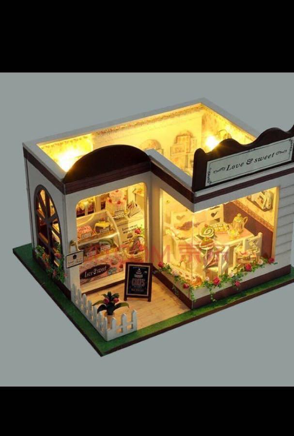 DIY小屋-蛋糕店(有燈+音樂+防塵罩)