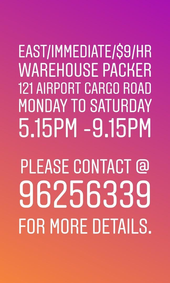 URGENT!! $9/HR Export Packer