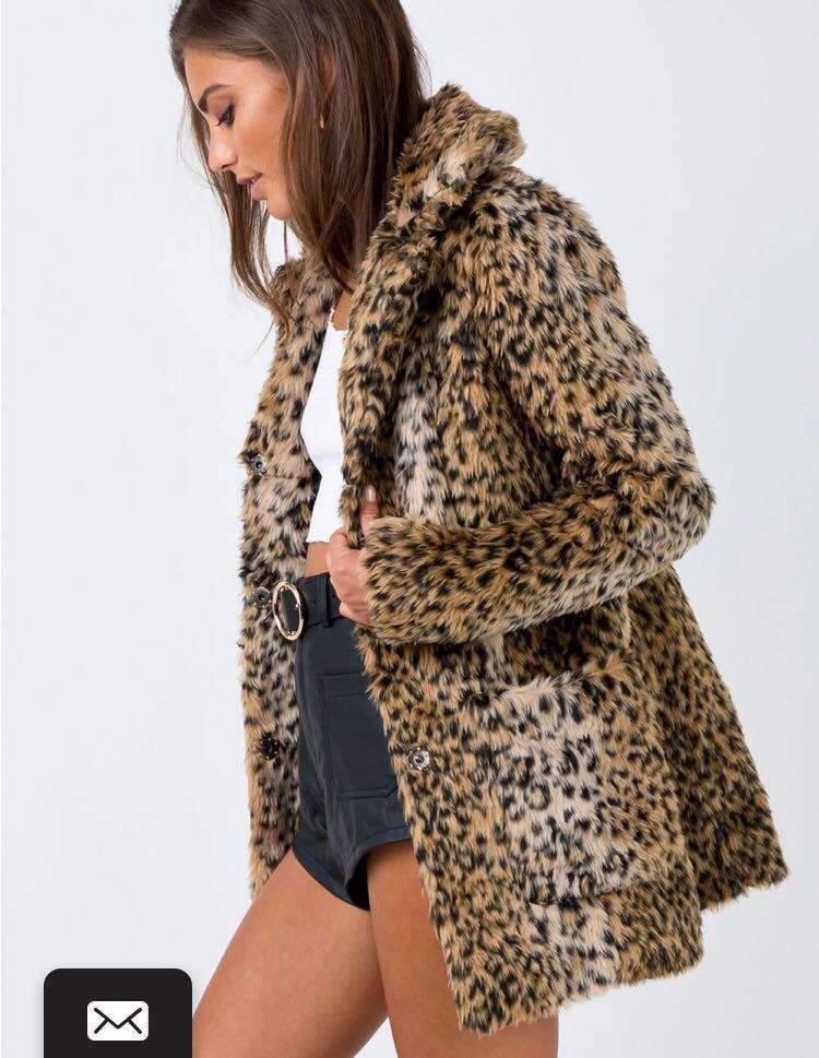 Faux fur Winona leopard coat Princess Polly. Worn once.