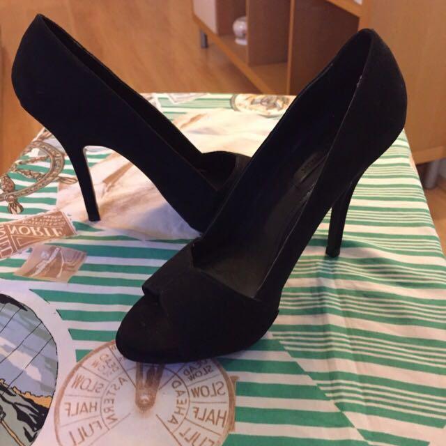 😆FREE SHIPPING* under 500g😆 AU7 ZARA Black Peep Toe High Heels