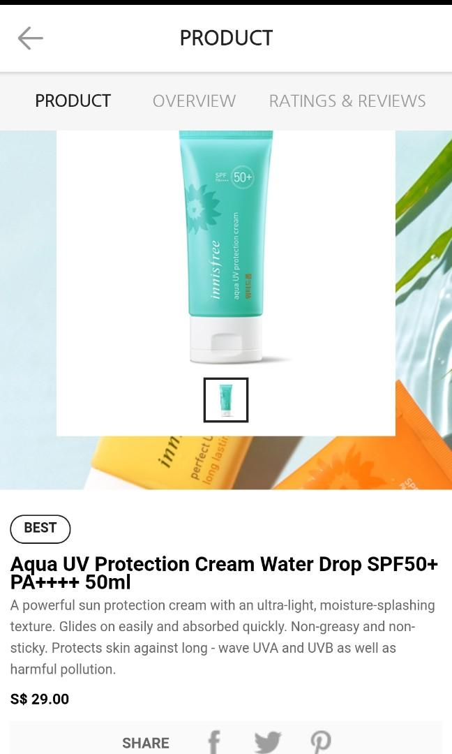 Innisfree Aqua UV Protection Cream Water Drop SPF50+ PA++++50ml