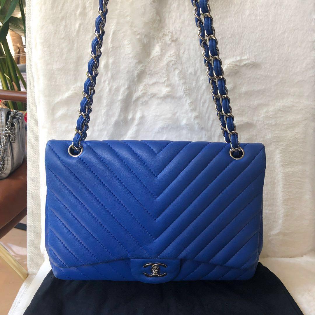 66f90710d7a1 Like new Chanel lambskin chevron jumbo flap blue classic bag handbag ...