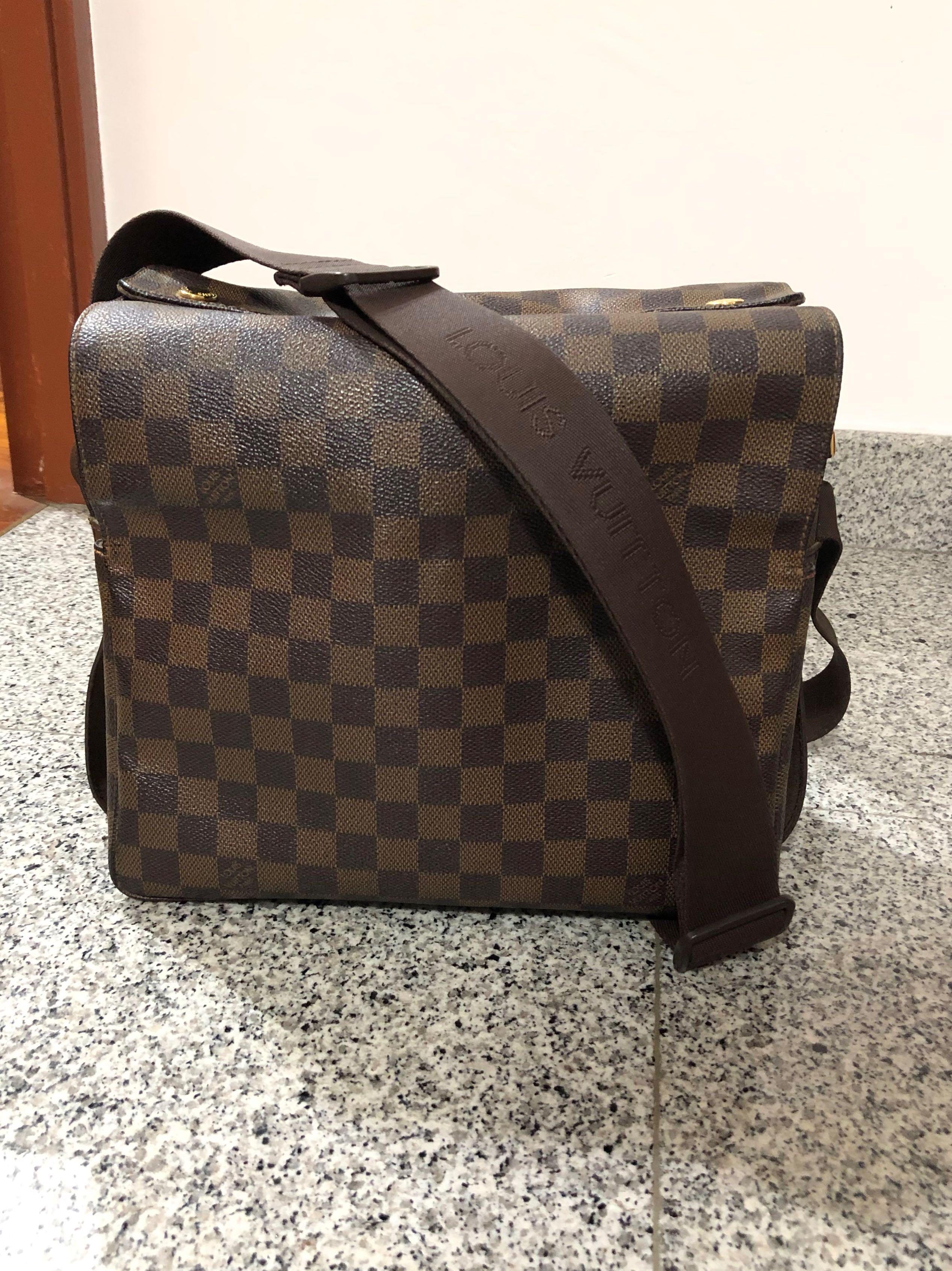 2a03624eb3e1 Louis Vuitton Sling Bag Messenger Naviglo Damier Ebene