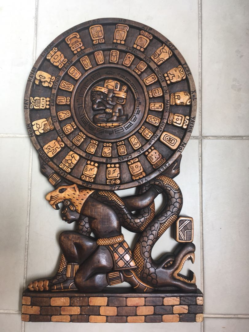 Mayan Aztec Calendar Hand Carved Wooden Relief Wall Hanging Design