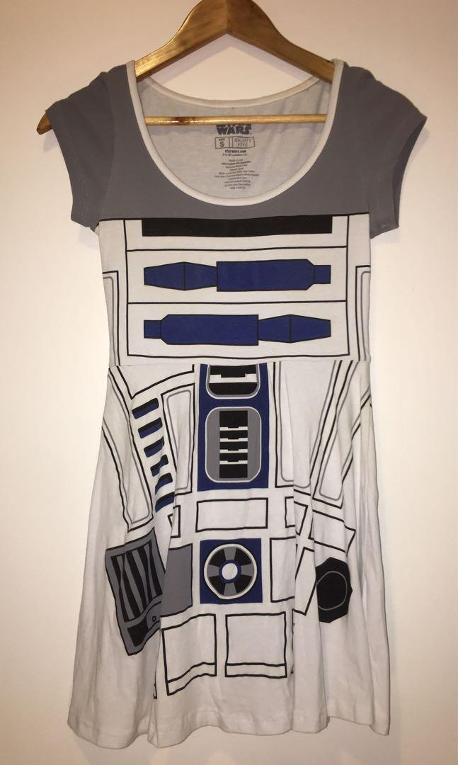 Mighty Fine Star Wars Dress R2 D2 Blue & White + R2 D2 Hair Bow