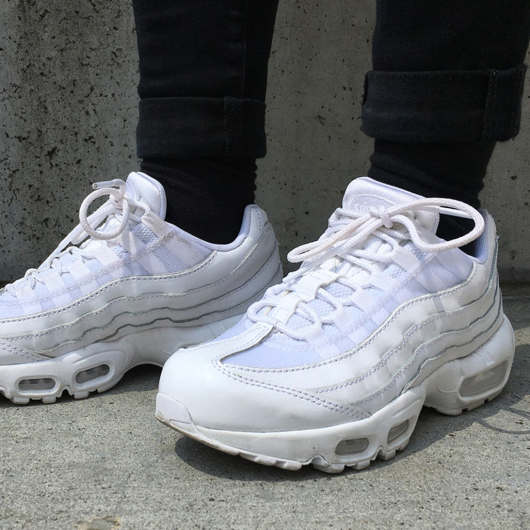 best service 6a6ed d8511 nike air max 95 full white trainers, Women's Fashion, Shoes ...