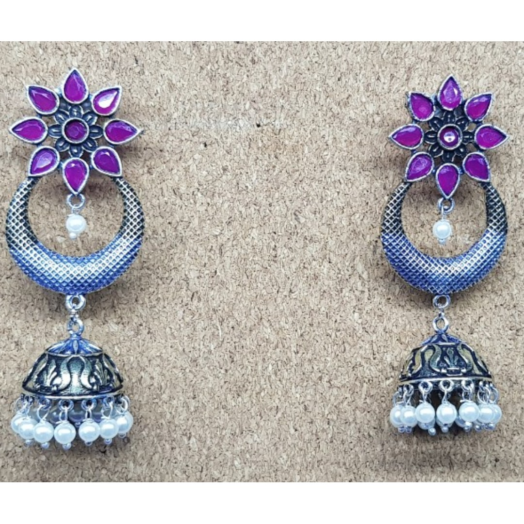 e871e054b OER19-93 Oxidized German Silver Earrings Antique design studded with ...