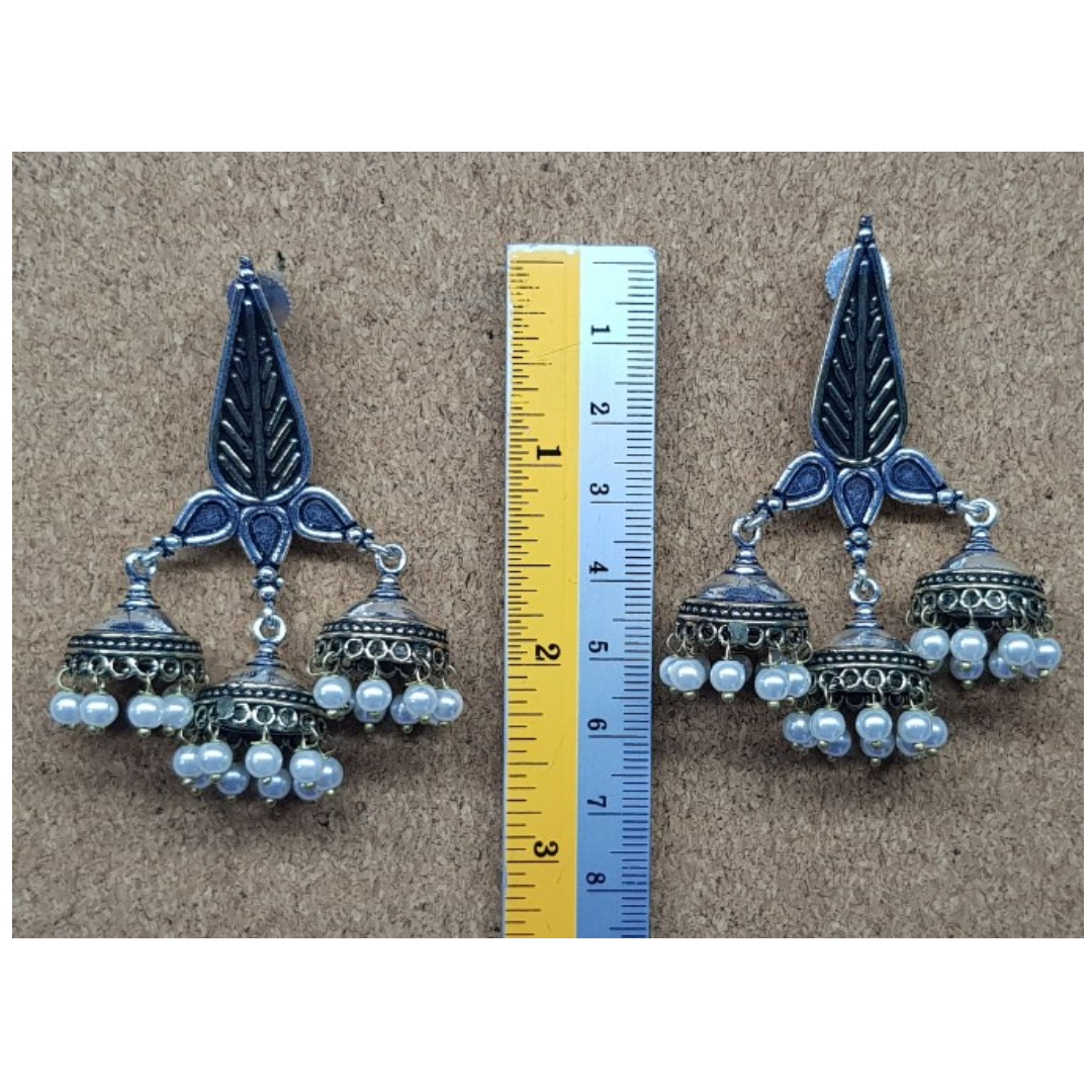 b2bc2ac8f Oxidized German Silver Earrings Antique design studded pearls ...