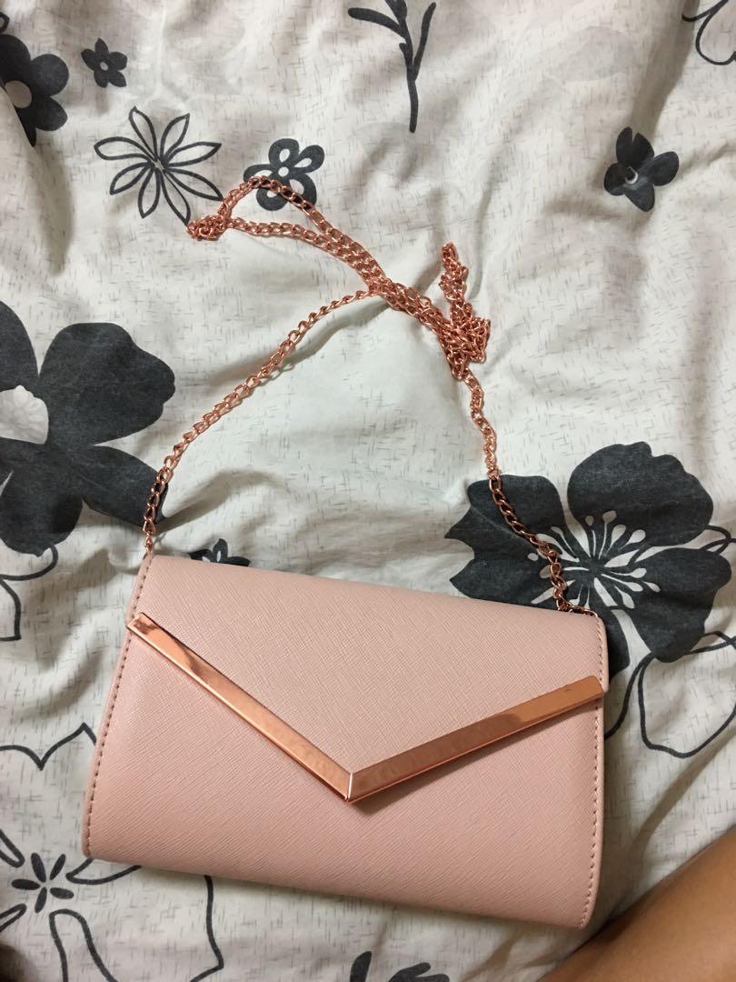 pink clutch side bag