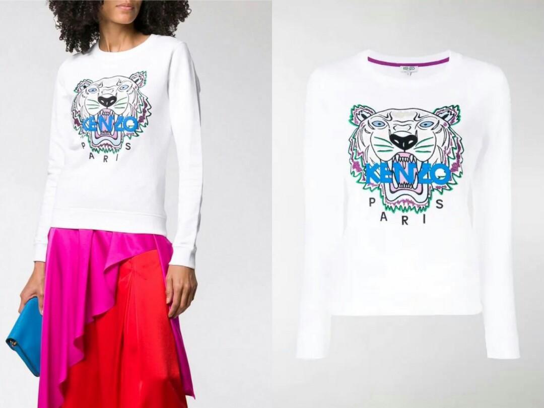 PO ETA 4 weeks or less KENZO Tiger Sweatshirt Woman White XS S M Grey XS S M